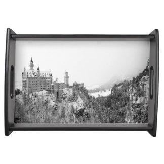 Bandeja Castelo preto e branco de Neuschwanstein no