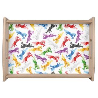 Bandeja Cavalos de salto coloridos do teste padrão