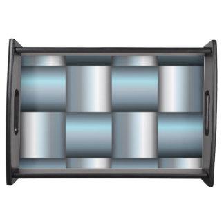 Bandeja Colagem quadrada metálica da prata & da cerceta