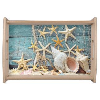 Bandeja Conch temático Shell da praia, estrela do mar &