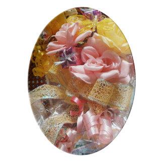 Bandeja cor-de-rosa & amarela da primavera da