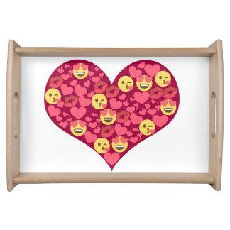Bandeja Coração bonito de Emoji dos lábios do beijo do