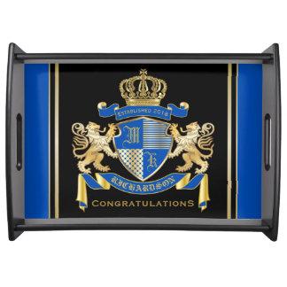 Bandeja Criar seu próprio emblema azul do leão do ouro da