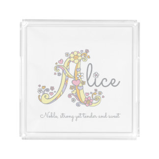 Bandeja da arte do nome e do significado de Alice