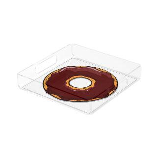Bandeja De Acrílico 1 design da rosquinha do chocolate dos desenhos