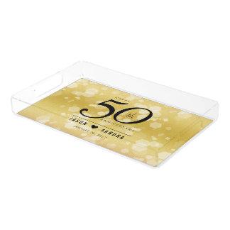 Bandeja De Acrílico 50th aniversário de casamento dourado elegante
