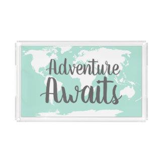 Bandeja De Acrílico A aventura espera o mapa do mundo & a hortelã