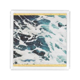 Bandeja De Acrílico água azul da natureza do mar das ondas de oceano