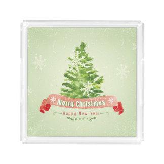 Bandeja De Acrílico Aguarela do Natal | - árvore do feliz ano novo