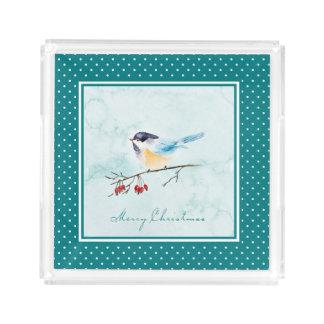 Bandeja De Acrílico Aguarela do Natal | - pássaro & bagas do inverno
