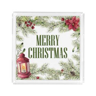 Bandeja De Acrílico Aguarela do Natal | - quadro do azevinho & da vela