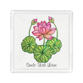 Bandeja De Acrílico Aguarela Lotus cor-de-rosa com botões & folhas