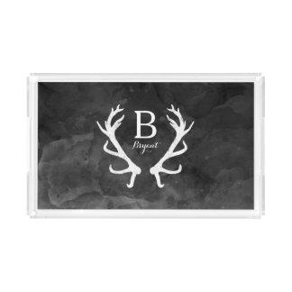 Bandeja De Acrílico Aguarela preta e monograma rústico dos Antlers dos