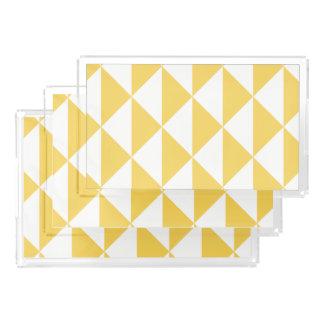 Bandeja De Acrílico Amarelo da prímula com a seta geométrica litoral