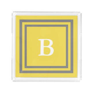 Bandeja De Acrílico Amarelo e cinzas personalizados do monograma