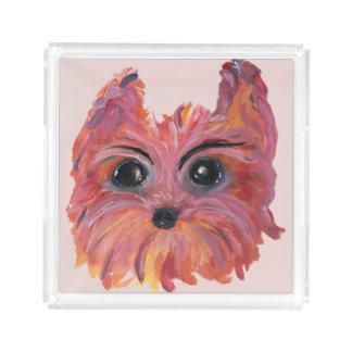Bandeja De Acrílico Arte bonito do cão de Yorkie no rosa e na laranja