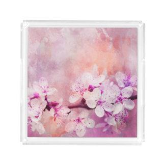 Bandeja De Acrílico Arte da aguarela da flor de cerejeira