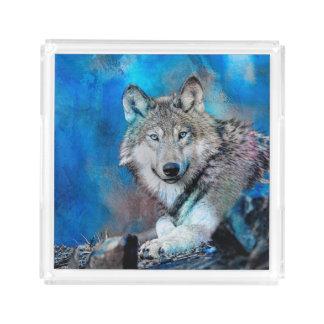 Bandeja De Acrílico Arte da aguarela do lobo