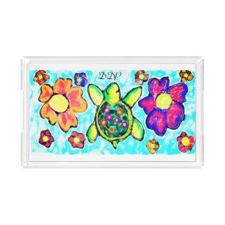 Bandeja De Acrílico Arte dois da flor da tartaruga