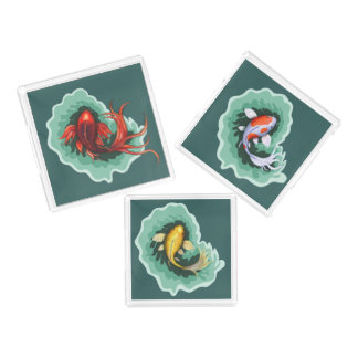 Bandeja De Acrílico Arte original dos peixes de Koi