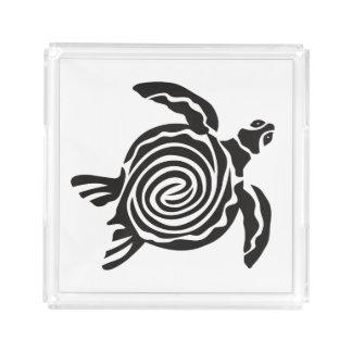 Bandeja De Acrílico Arte tribal preto e branco da tartaruga