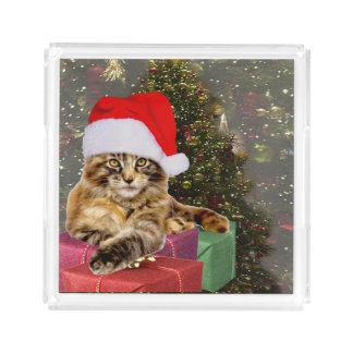 Bandeja De Acrílico Árvore de Natal do papai noel & dos presentes do