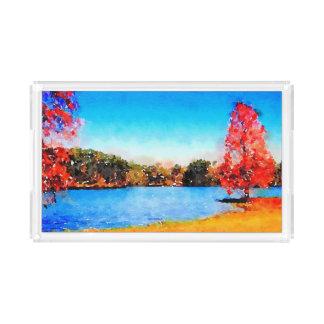 Bandeja De Acrílico Árvore e lago do outono da aguarela