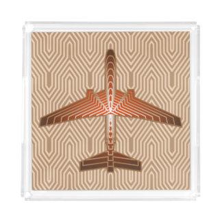 Bandeja De Acrílico Avião do art deco, bronze, ouro e oxidação Brown