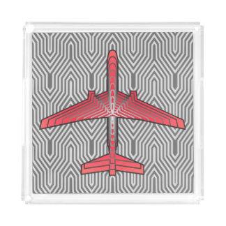Bandeja De Acrílico Avião do art deco, cinzas alaranjadas e de prata