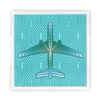 Bandeja De Acrílico Avião, turquesa, cerceta e Aqua do art deco