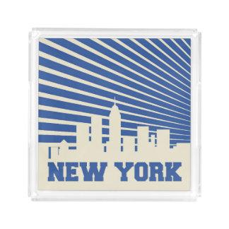 Bandeja De Acrílico Azul da Nova Iorque