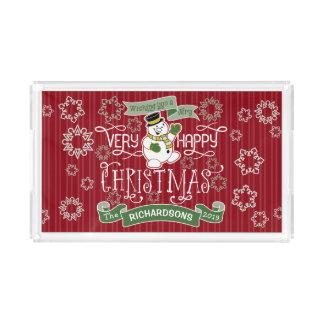 Bandeja De Acrílico Bandeira do costume da tipografia do Natal feliz