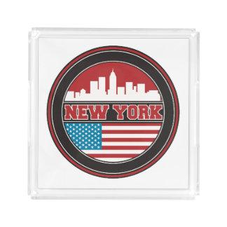 Bandeja De Acrílico Bandeira dos Estados Unidos da skyline | de New