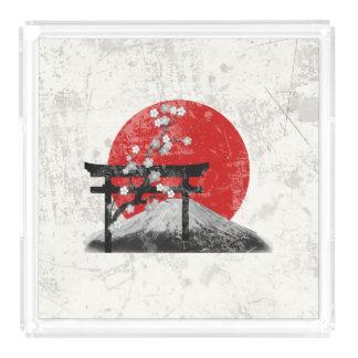Bandeja De Acrílico Bandeira e símbolos de Japão ID153