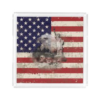 Bandeja De Acrílico Bandeira e símbolos dos Estados Unidos ID155