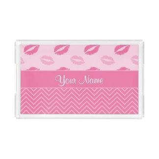 Bandeja De Acrílico Beijos e ziguezagues rosa e branco