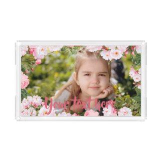 Bandeja De Acrílico Beira cor-de-rosa feita sob encomenda das flores