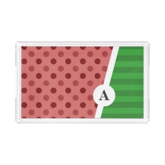 Bandeja De Acrílico Bolinhas da melancia e teste padrão da listra