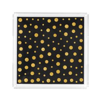 Bandeja De Acrílico Bolinhas elegantes - ouro preto