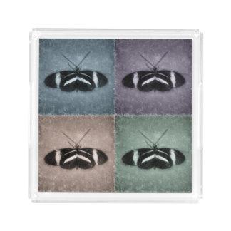 Bandeja De Acrílico Borboletas verdes azuis roxas do esboço do teste