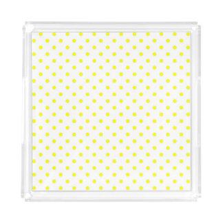 Bandeja De Acrílico Branco com bolinhas amarelas