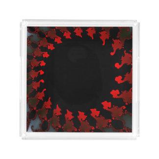 Bandeja De Acrílico Branco preto vermelho do Fractal