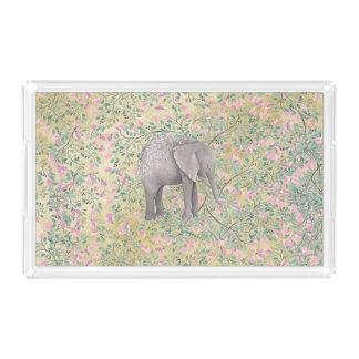 Bandeja De Acrílico Brilho do ouro das flores do elefante da aguarela