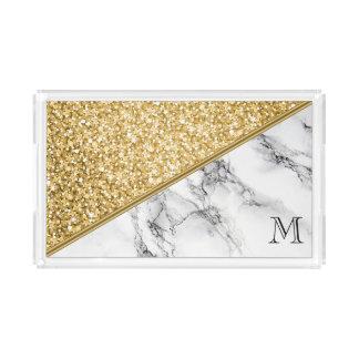 Bandeja De Acrílico Brilho Monogrammed do ouro e mármore cinzento