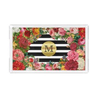 Bandeja De Acrílico Brilho na moda do ouro das flores dos rosas das