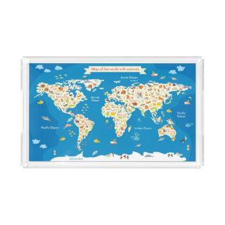 Bandeja De Acrílico Caçoa o mapa do mundo com animais