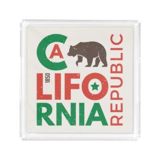 Bandeja De Acrílico Califórnia com logotipo do urso de urso