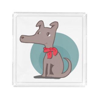 Bandeja De Acrílico Cão retro com um lenço vermelho