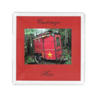Bandeja De Acrílico Caravana minúscula aciganada vermelha