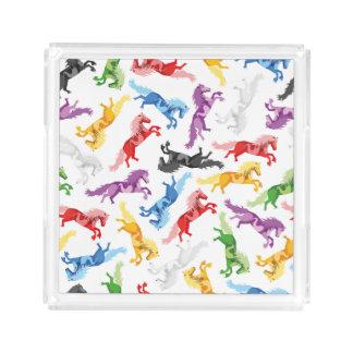 Bandeja De Acrílico Cavalos de salto coloridos do teste padrão